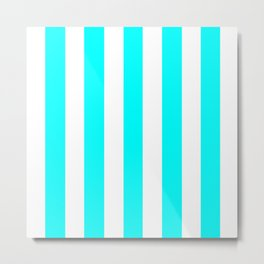 Electric cyan heavenly - solid color - white vertical lines pattern Metal Print