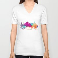 minneapolis V-neck T-shirts featuring Minneapolis skyline watercolor by jbjart
