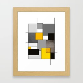 Black Yellow and Gray Geometric Art Framed Art Print