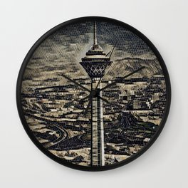 Iran Milad Tower Artistic Illustration Floor Stones Style Wall Clock