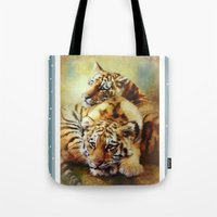 tigers Tote Bags featuring Little Tigers by Trudi Simmonds