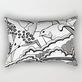 Swallows in the clouds Rectangular Pillow