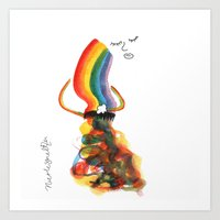 Rainbow Girl Untangles Her Beams Art Print