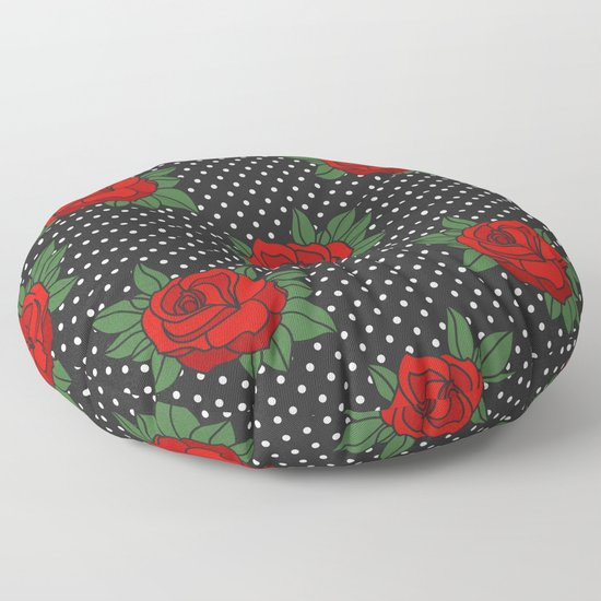 Rockabilly style roses on white polka dots pattern by danadudesign