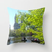 rowing Throw Pillows featuring Rowing at Central Park, NYC by Martha Washington