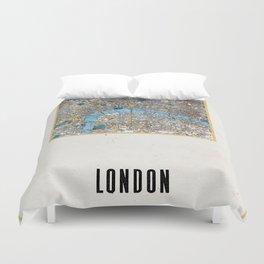 Vintage London Gold Foil Location Coordinates with map Duvet Cover
