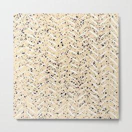 Herringbone splatter pattern in tan Metal Print