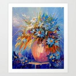 Bouquet of cornflowers Art Print