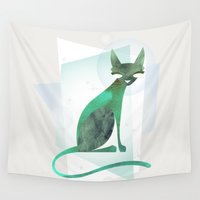 mid century modern Wall Tapestries featuring Mid-Century Feline by a. peterson