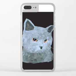Low poly british cat Clear iPhone Case