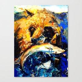 Gon' Fishin. brown. bear. fishing. wildlife. Canvas Print