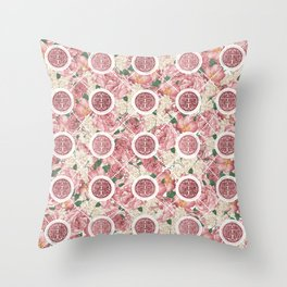 Double Happiness Symbol on Gentle Peony pattern Throw Pillow