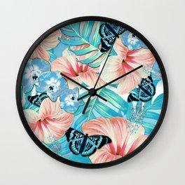 Tropical Spring Aqua Wall Clock