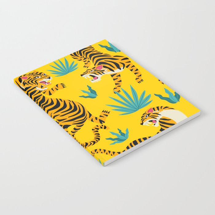Yellow Tiger Tropical Pattern Notebook
