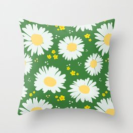 Spring Daisies 001 on Green Throw Pillow