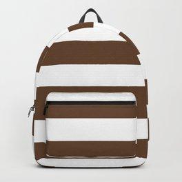 Van Dyke brown - solid color - white stripes pattern Backpack