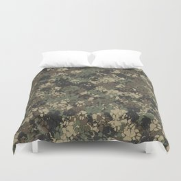 Wolf paw prints camouflage Duvet Cover