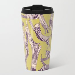 cat party mustard purple Travel Mug
