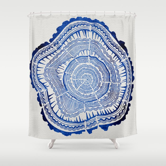 Growth Rings – 65 Years – Navy Shower Curtain