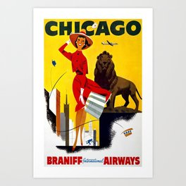 Chicago, Braniff International Airways - Vintage Travel Poster Art Print