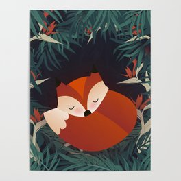 Cute Sleping Forest Fox Poster