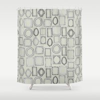 frames Shower Curtains featuring picture frames bone by Sharon Turner