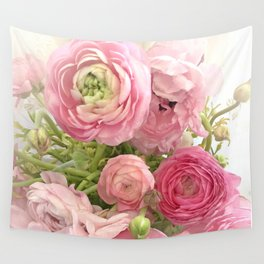 Shabby Chic Cottage Ranunculus Peonies Roses Floral Print & Home Decor Wall Tapestry