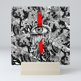 Red inked Eye Mini Art Print
