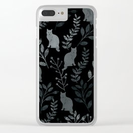 Watercolor Floral and Cat III Clear iPhone Case