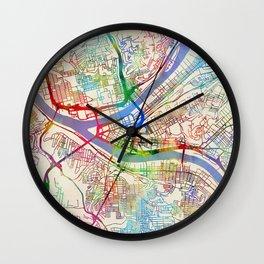 Pittsburgh Pennsylvania Street Map Wall Clock