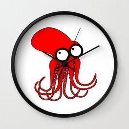 Cute Red Octopus Wall Clock