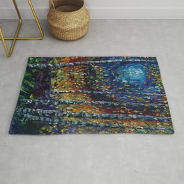 Moonlight Sonata With Aspen Trees Palette Knife Painting Rug