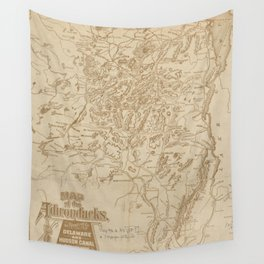 Vintage Map of The Adirondack Mountains (1880) Wall Tapestry