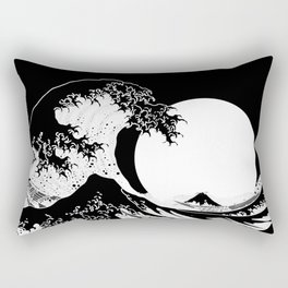 The Great Wave Black and White Inverse Rectangular Pillow
