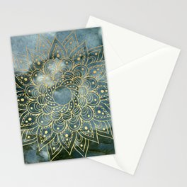 MANDALA ON BLUE MARBLE Stationery Cards