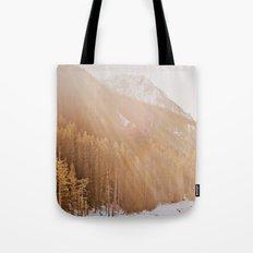 Sun Shining through the Mountains Tote Bag