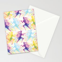 Watercolor women runner pattern Stationery Cards