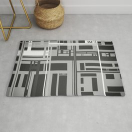 Black and White Lines Rug