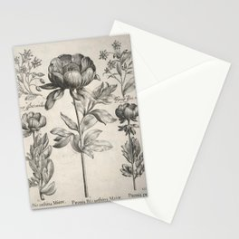 Antique floral black and white chinoiserie flower vintage Paris flowers French botanical goth print Stationery Cards