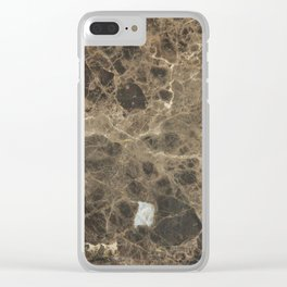 Brown Vein Marble Print Home Decor Clear iPhone Case