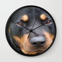 Beautiful Female Rottweiler Portrait Vector Wall Clock