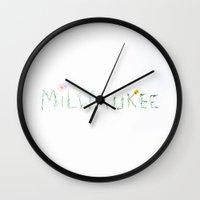 milwaukee Wall Clocks featuring Milwaukee by Lottie.Lillian