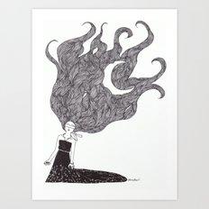 Moon Hair Art Print