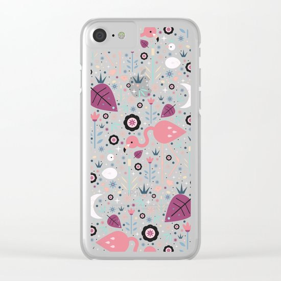 Flamingo & Chick  Clear iPhone Case