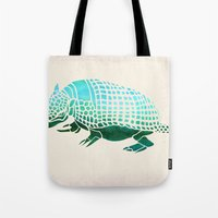 reassurance Tote Bags featuring Watercolor Armadillo by Jacqueline Maldonado