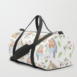 birdhouses, birds, hearts and flowers Duffle Bag