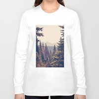 fire Long Sleeve T-shirts featuring Mountains through the Trees by Kurt Rahn