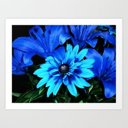 Electric Blue Flowers Art Print