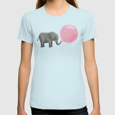Jumbo Bubble Gum  SMALL Light Blue Womens Fitted Tee