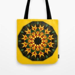 Iris 002.8, Floral mandala-style Tote Bag